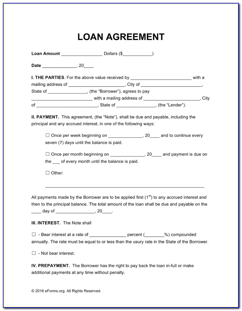 Free Loan Agreement Templates Pdf | Word | Eforms – Free For Loan Contract Template