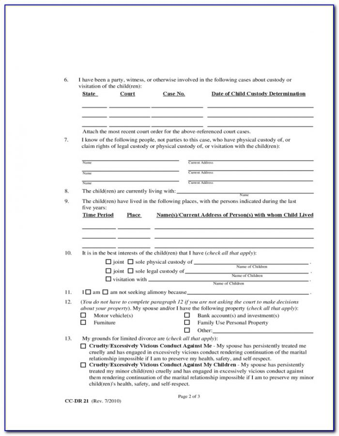 Free Maryland Legal Separation Forms
