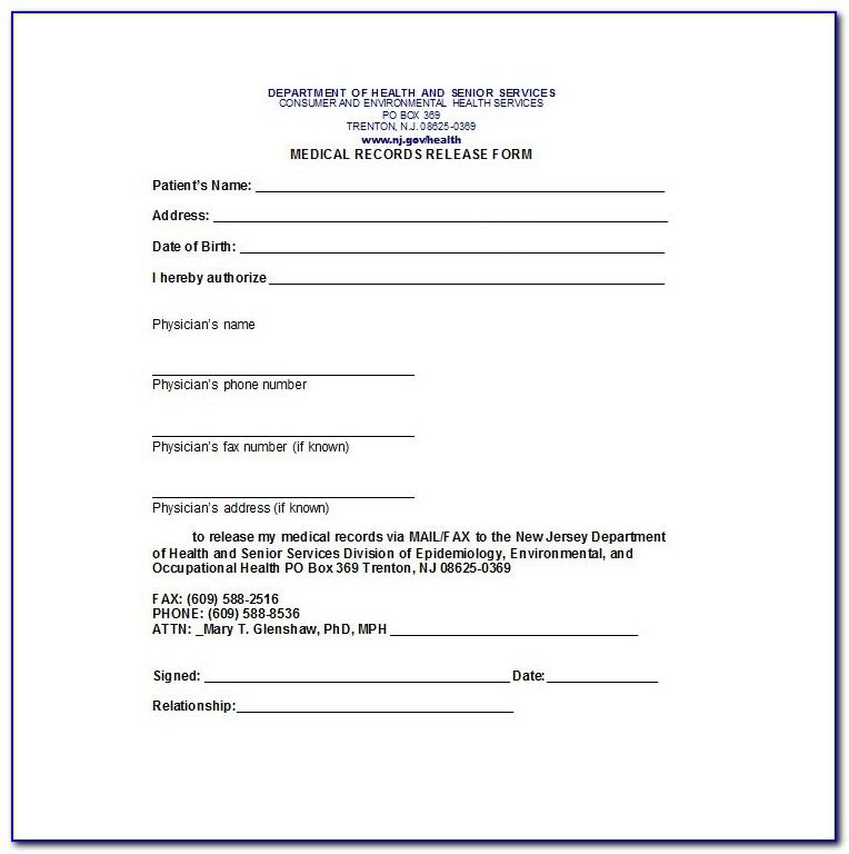 Free Medical Records Release Form Template
