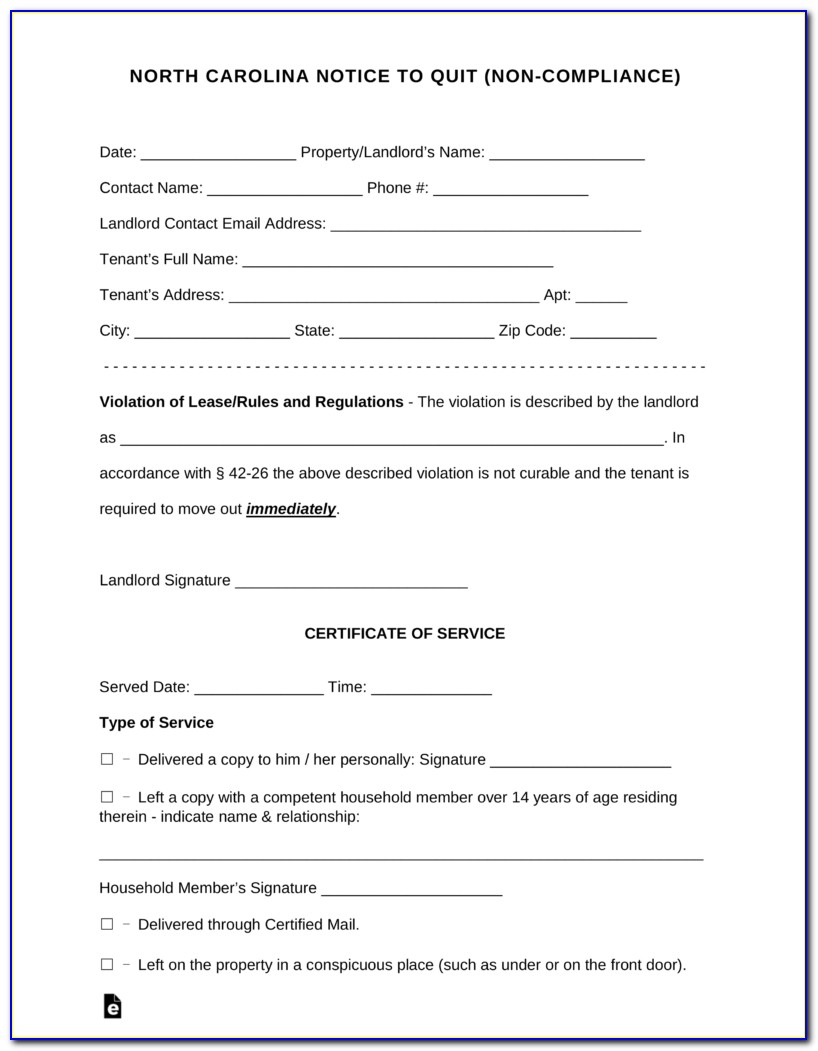 Free Nc Eviction Notice Form
