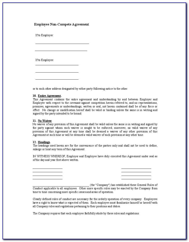 Free Non Compete Agreement Form Download