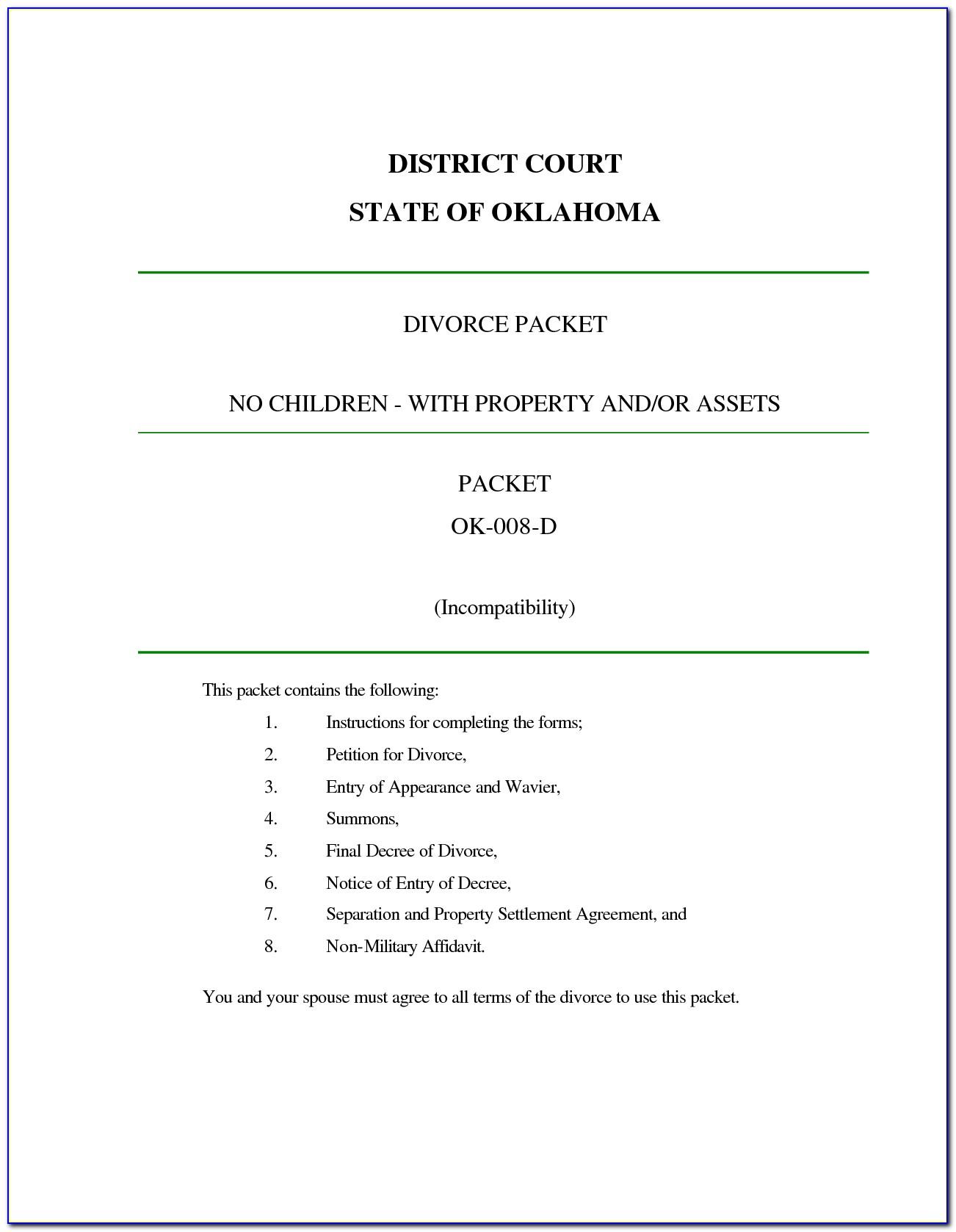 Free Oklahoma Divorce Decree Form