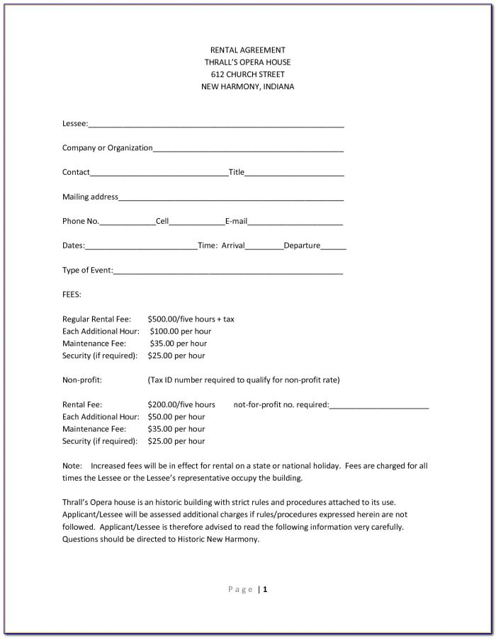 Free One Page Rental Agreement Form