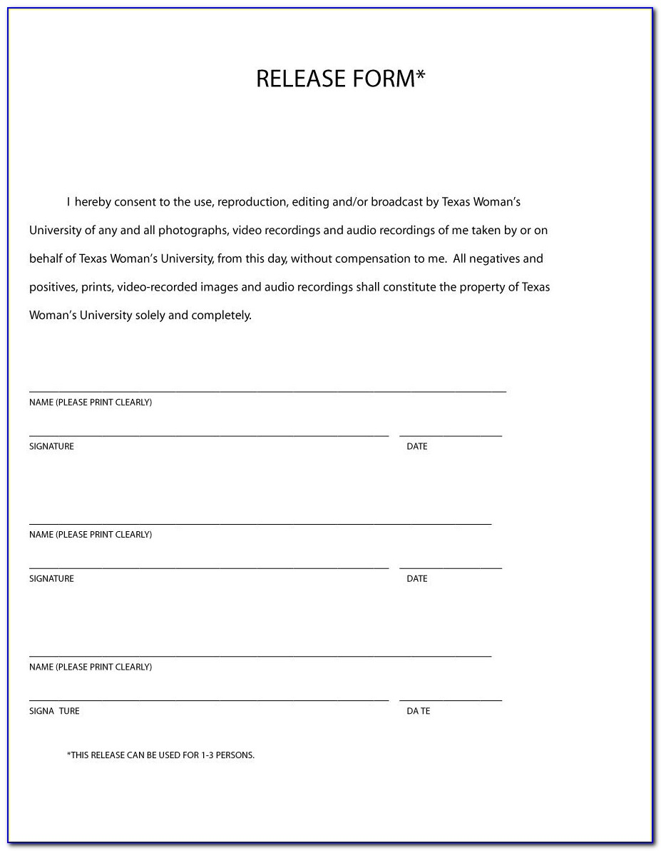 Free Photo And Video Release Form Template