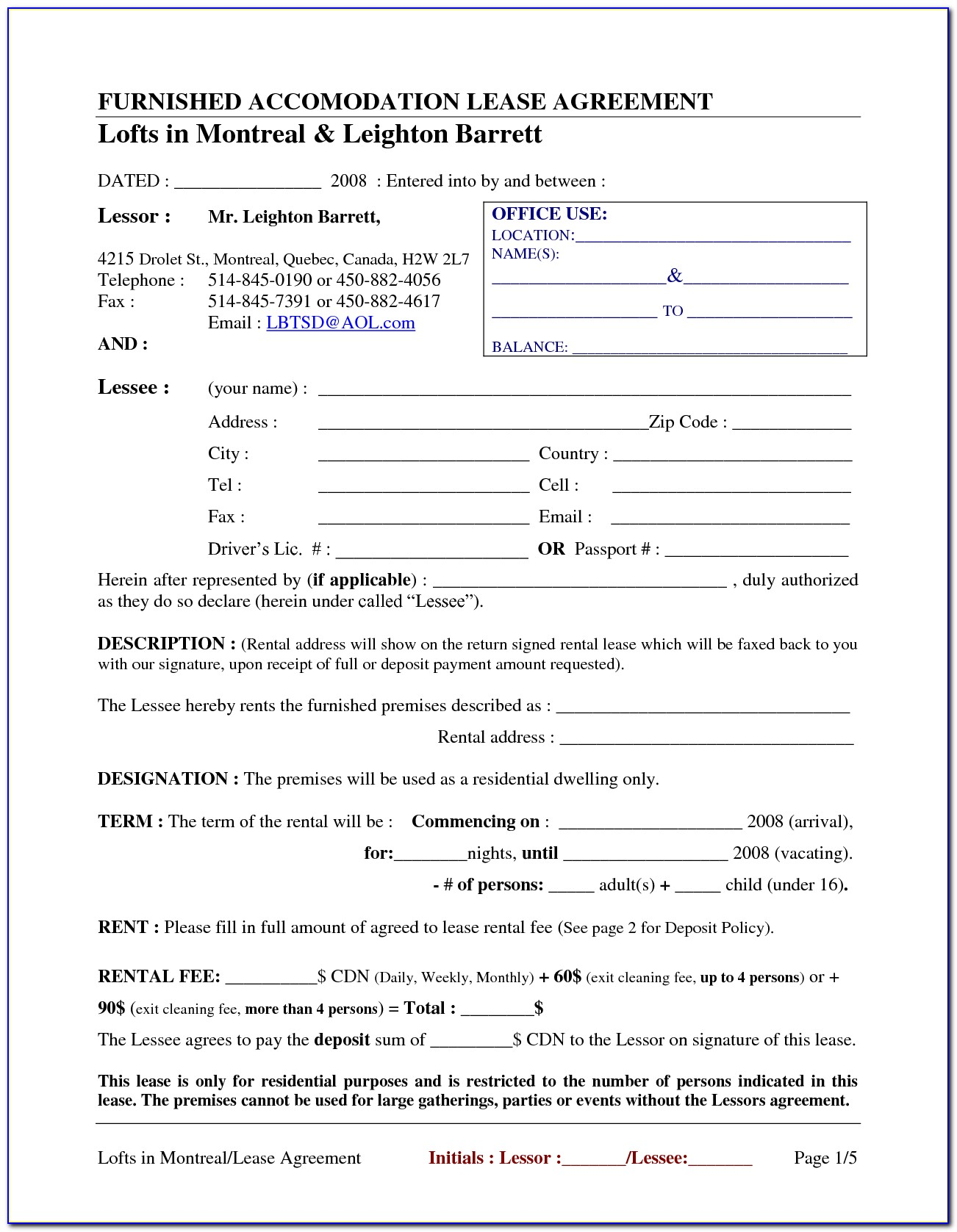 Free Printable House Rental Forms