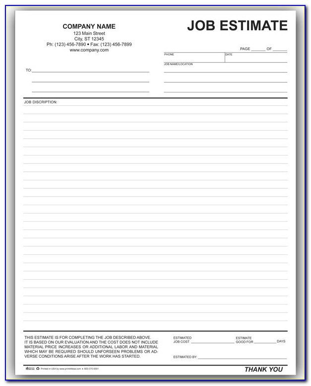 Free Printable Job Estimate Template