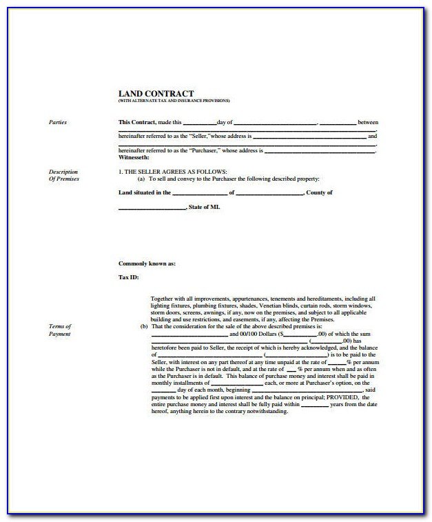 Free Printable Land Contract Forms Michigan