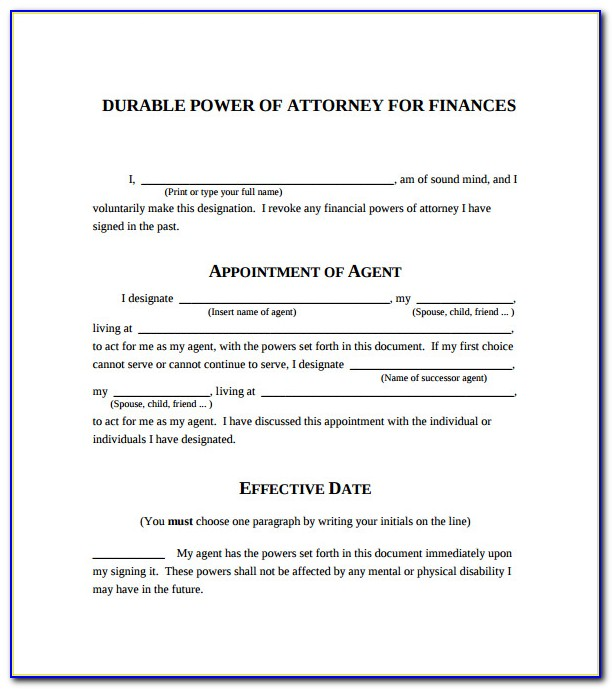 Free Printable Power Of Attorney Forms Nc