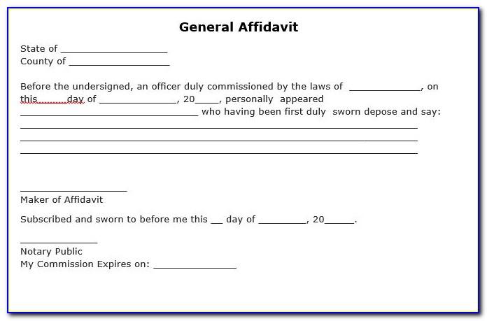 Free Printable Sworn Affidavit Form