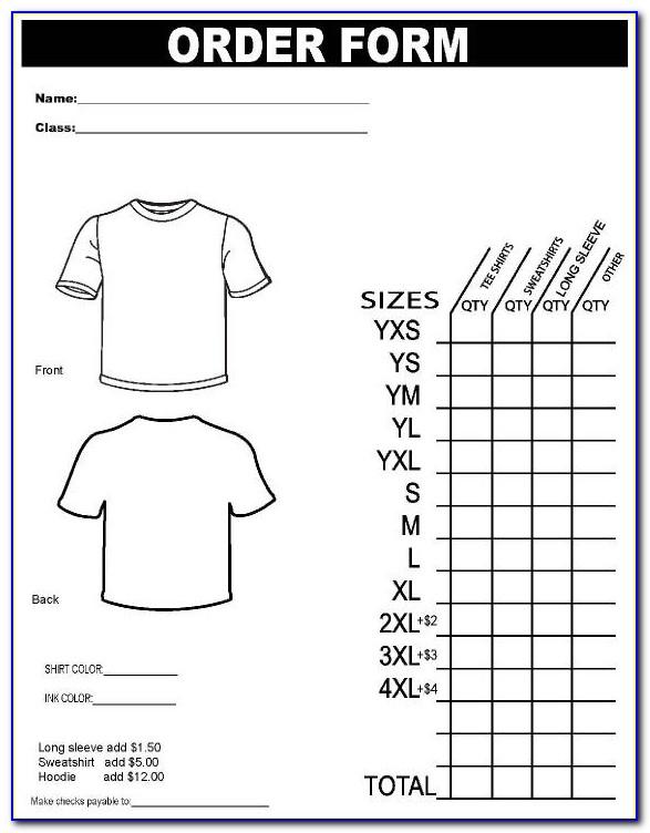 Free Printable T Shirt Order Form Templates