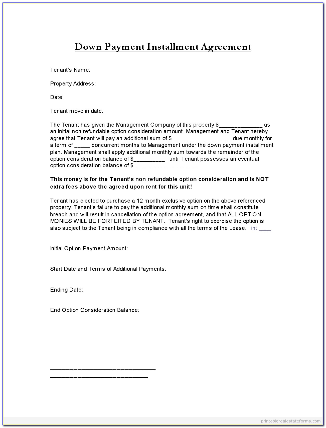 Free Promise To Pay Agreement Form