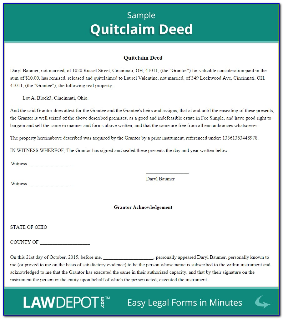Free Real Estate Quit Claim Deed Form