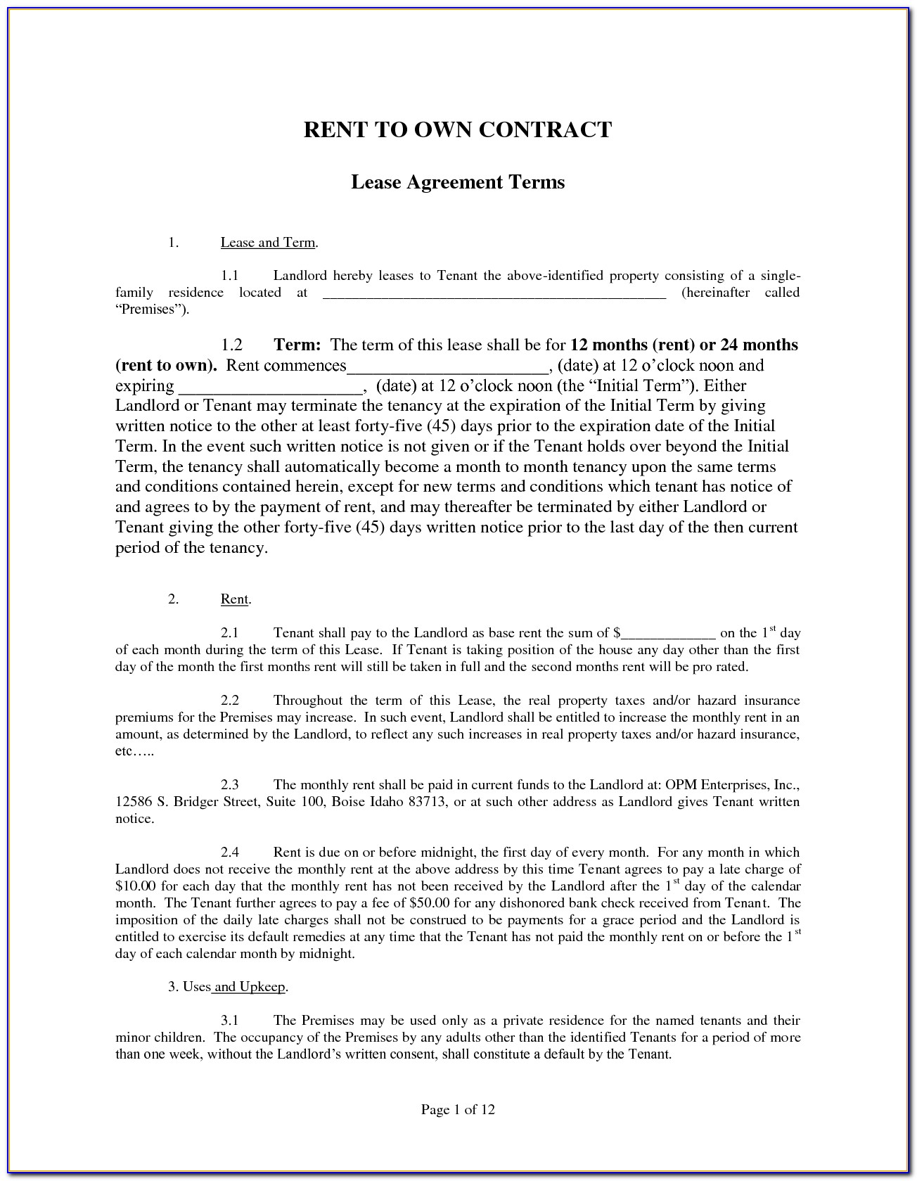 Free Rent To Own Lease Agreement Form