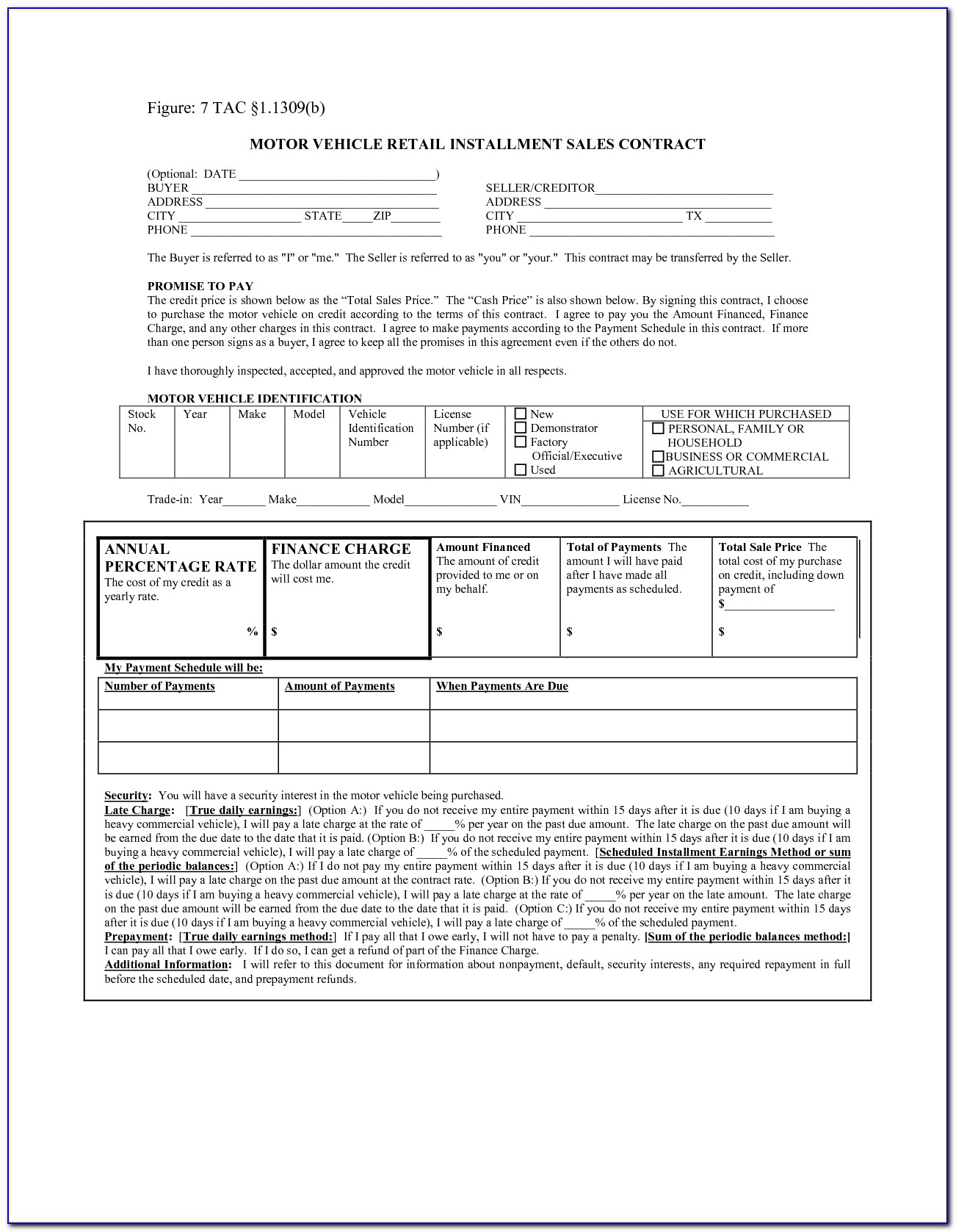 Free Retail Installment Contract Form