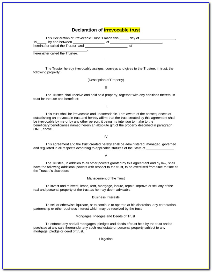 Free Revocable Trust Forms