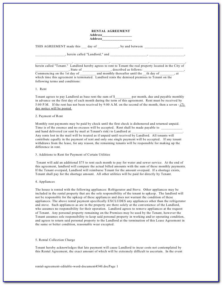 Free Room Rental Agreement Form Uk