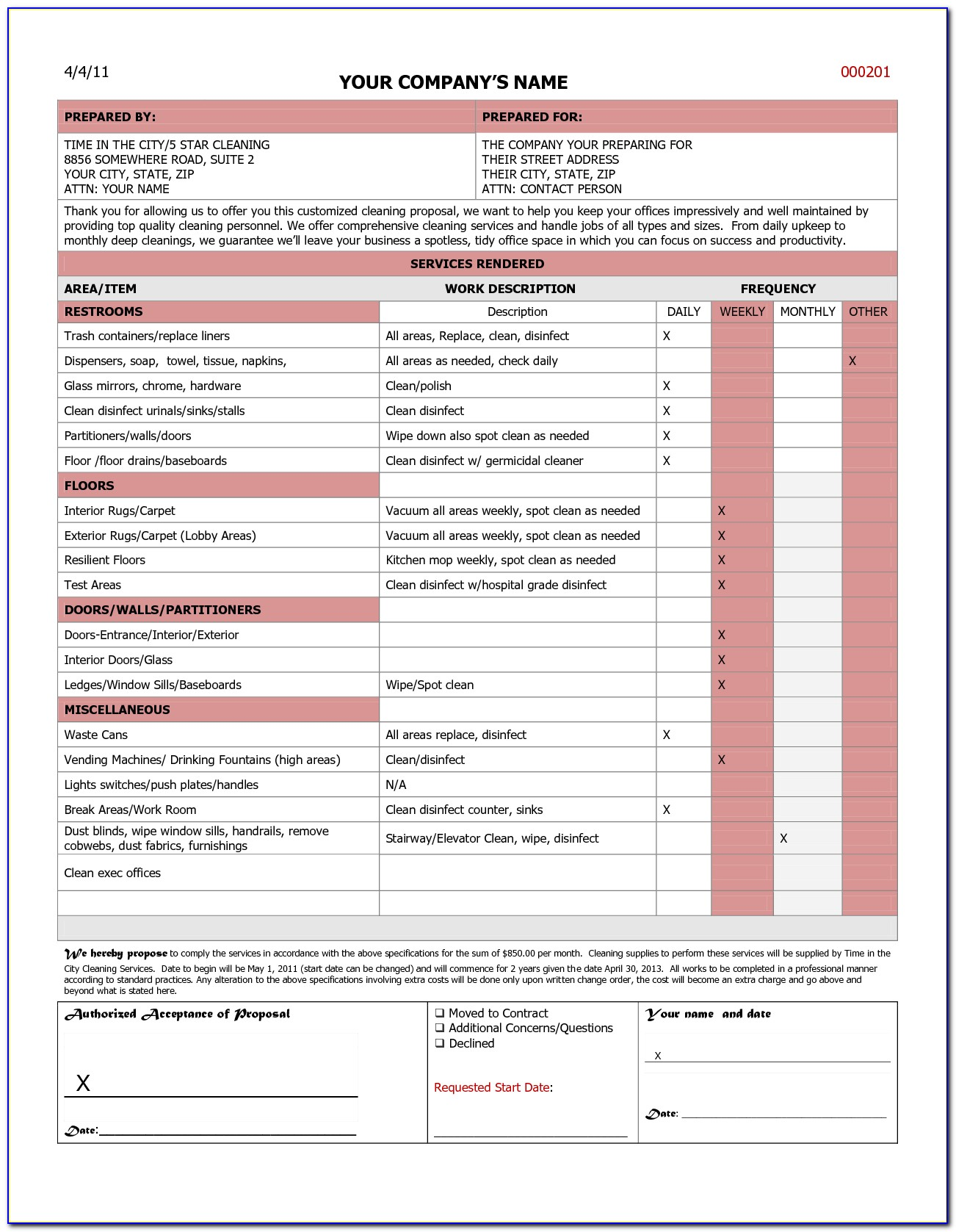 Free Sample Bid Proposal Form