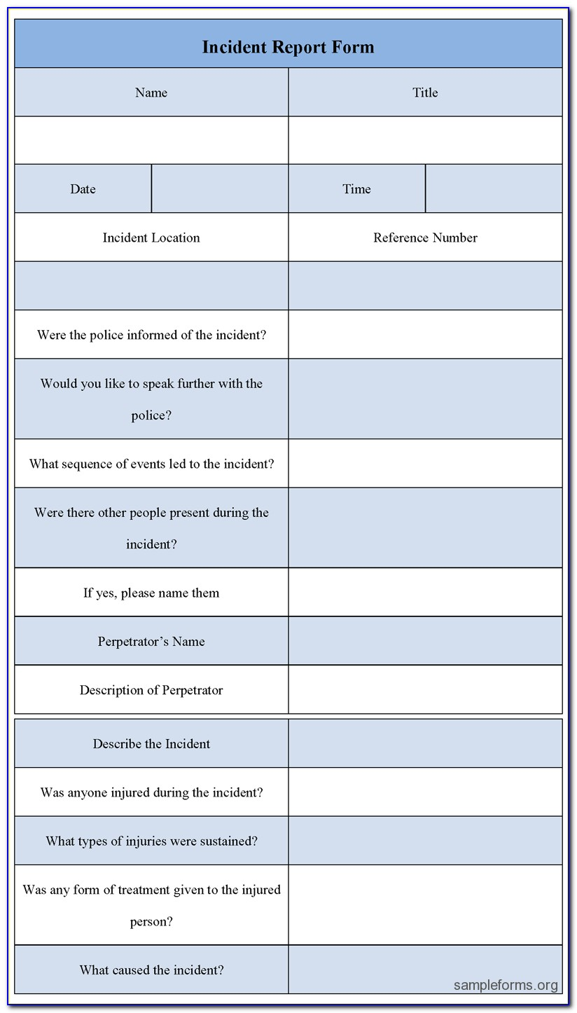 Free Sample Incident Report Form Templates