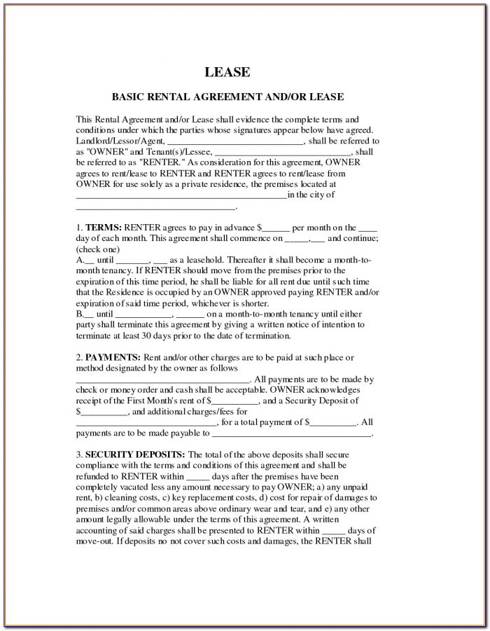 Free Simple Rental Lease Form