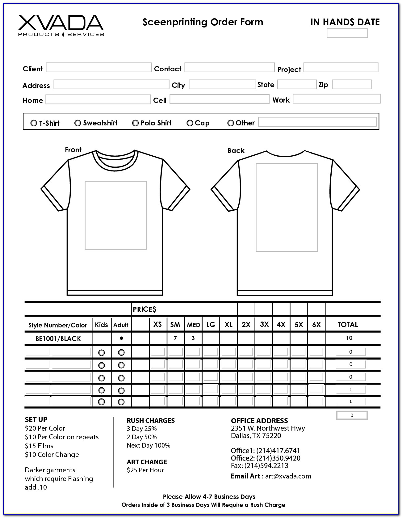 Free T Shirt Order Form Template Microsoft Word