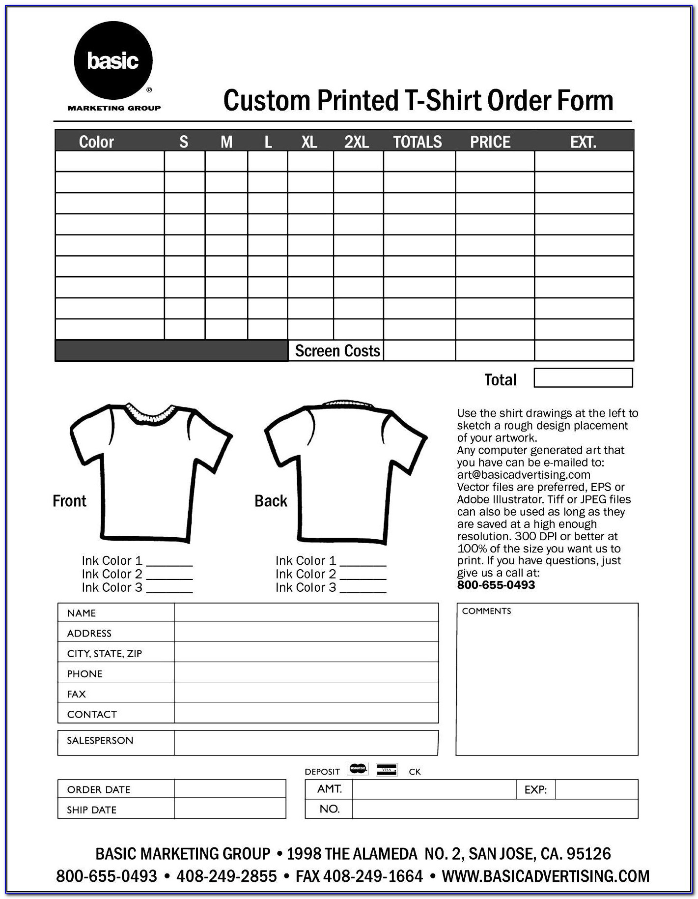 Free T Shirt Order Form Template