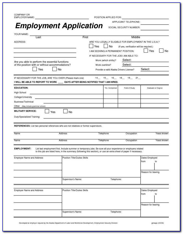 Free Truck Driver Job Application Form