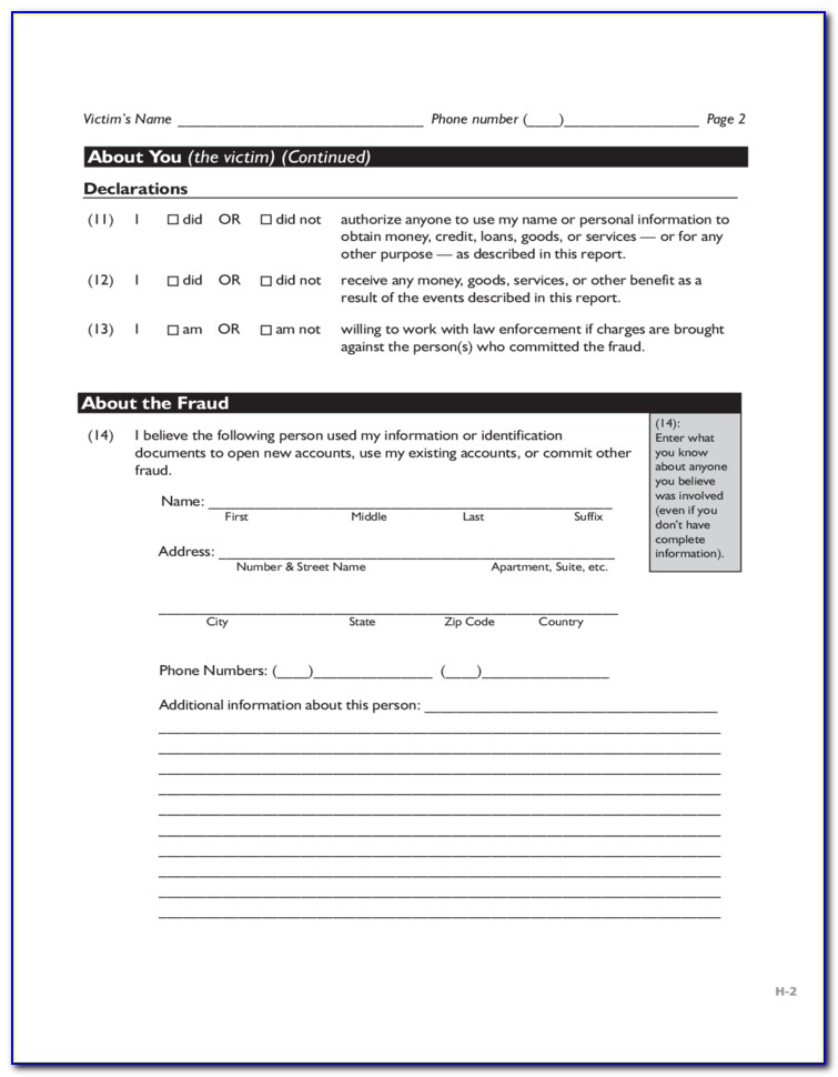 Ftc Id Theft Affidavit Form