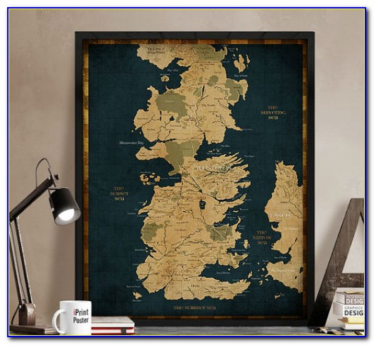 Game Of Thrones Map Poster Framed