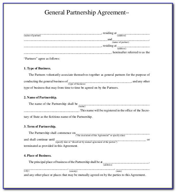 General Partnership Agreement Form Download