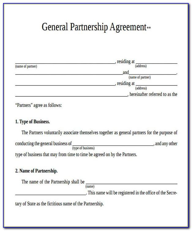 General Partnership Agreement Form Texas