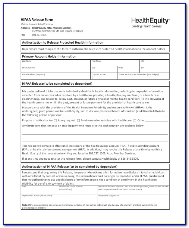 Generic Hipaa Release Form For Family Members