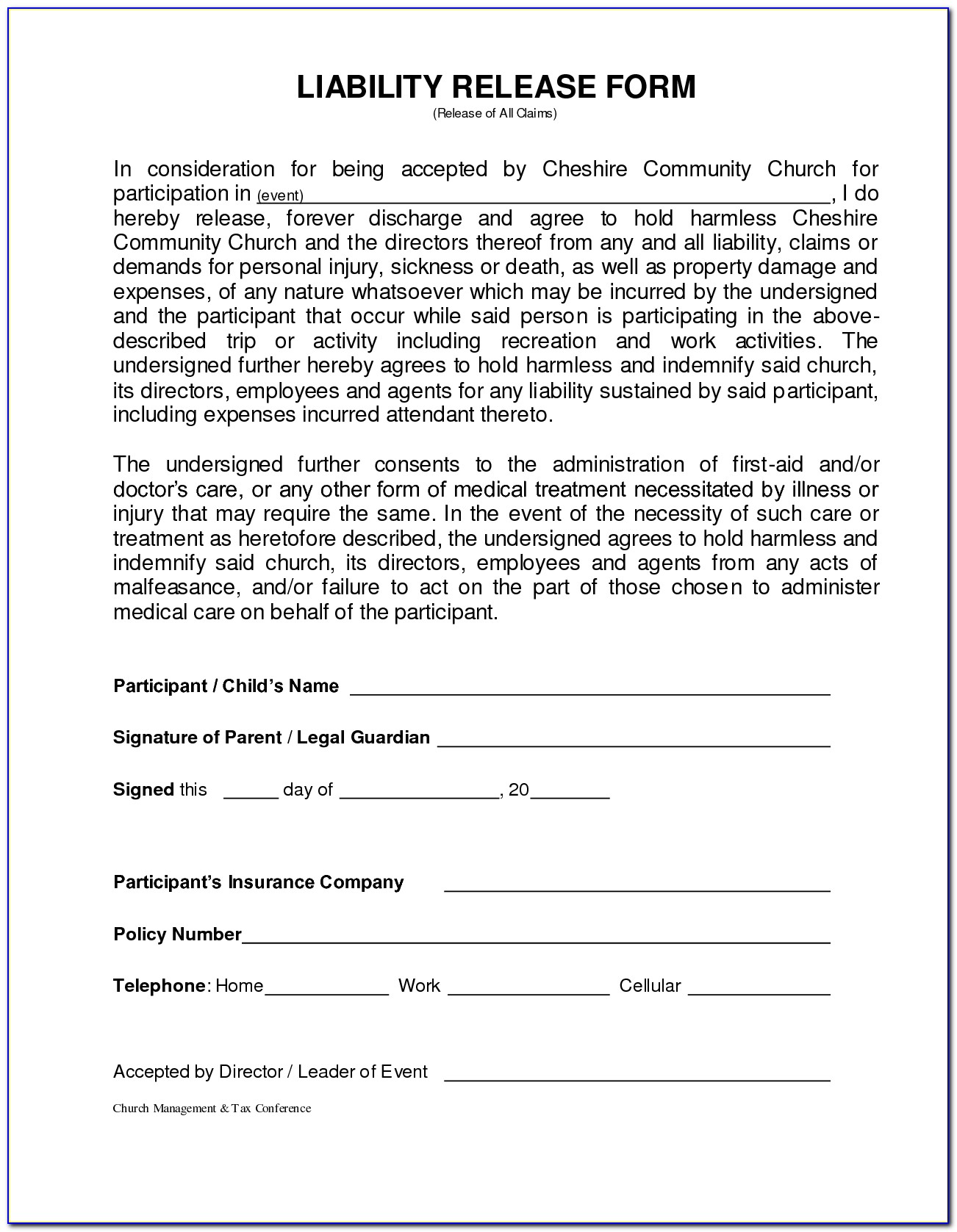 Generic Medical Waiver Form
