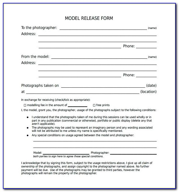 Generic Model Release Form Template
