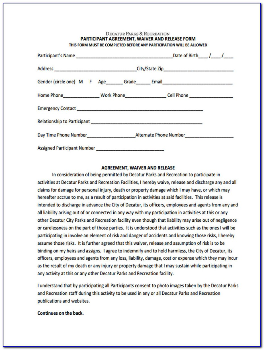 Generic Waiver Release Form