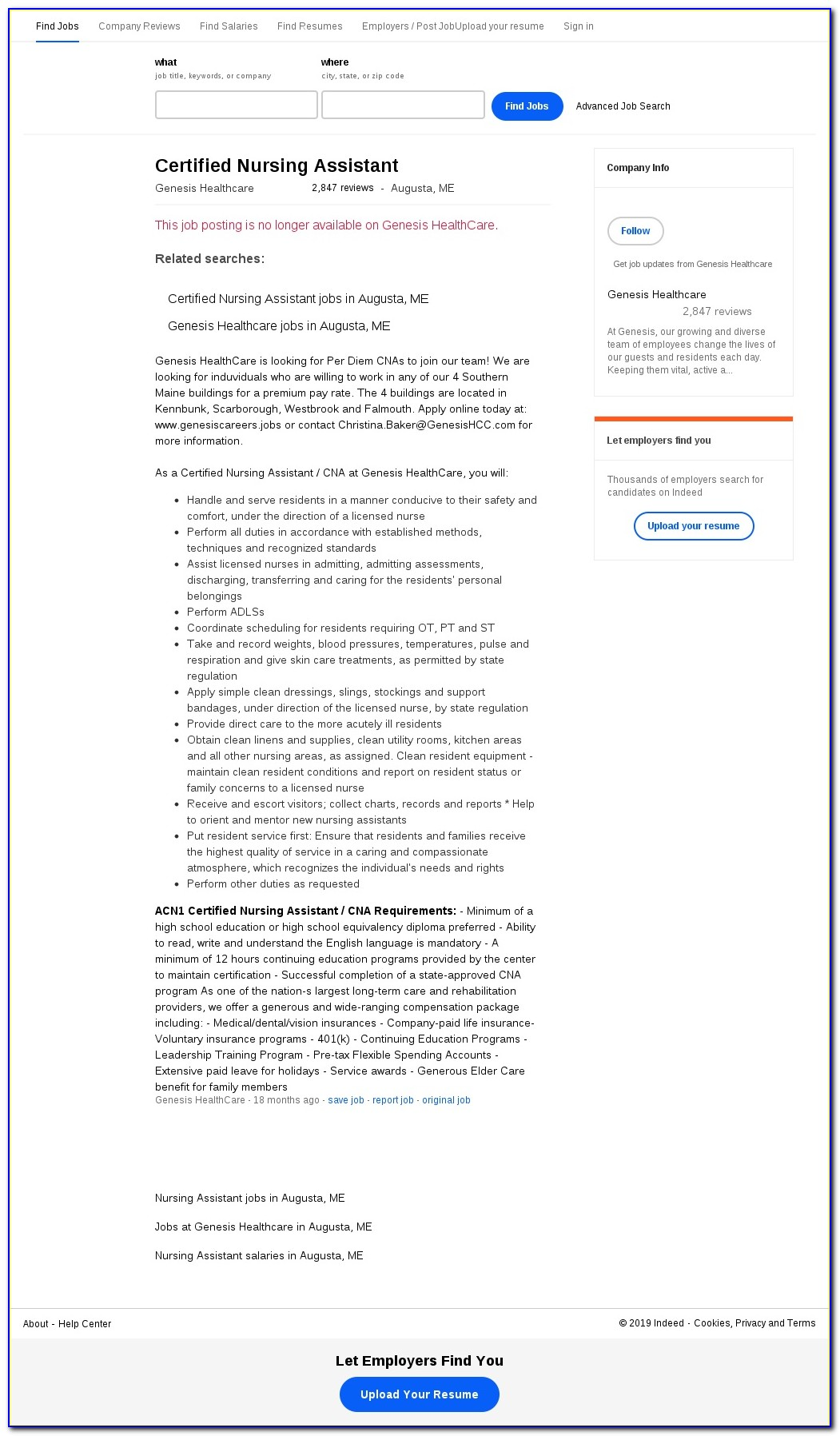 Genesis Healthcare Job Application Form