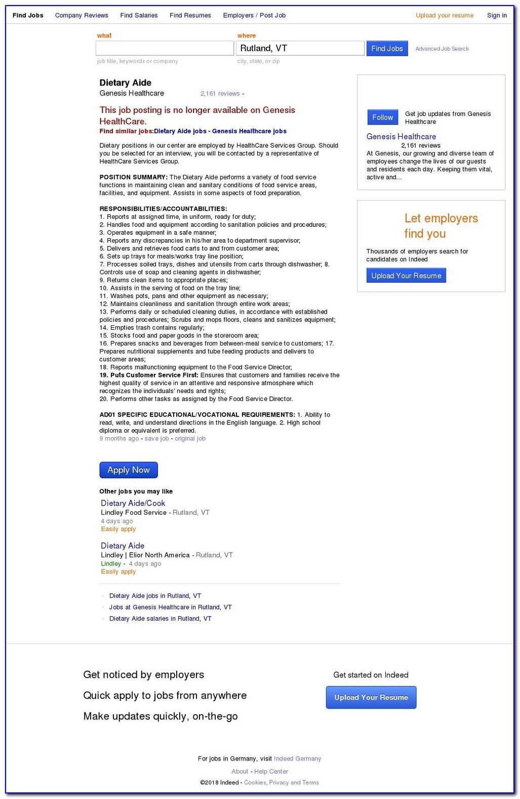 Genesis Healthcare Job Application