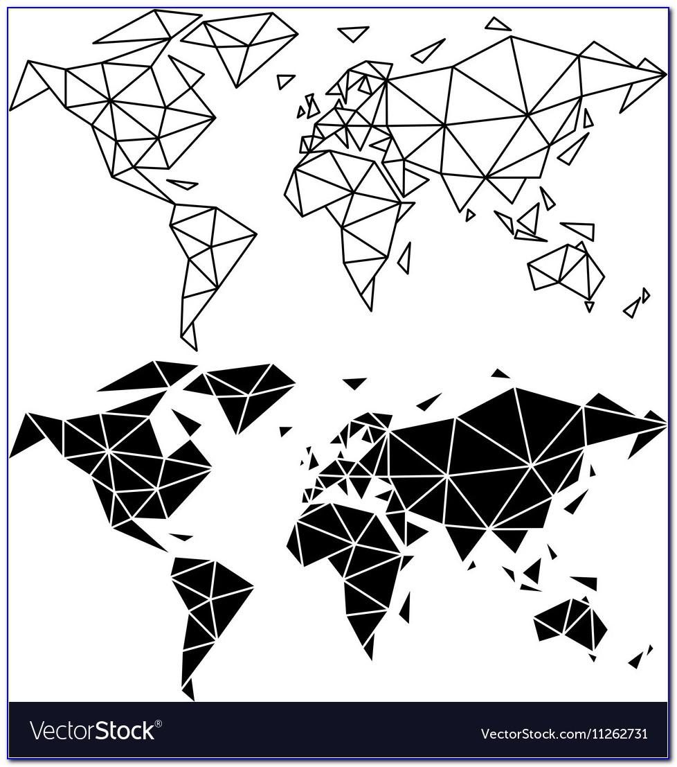 Geometric World Map Metal