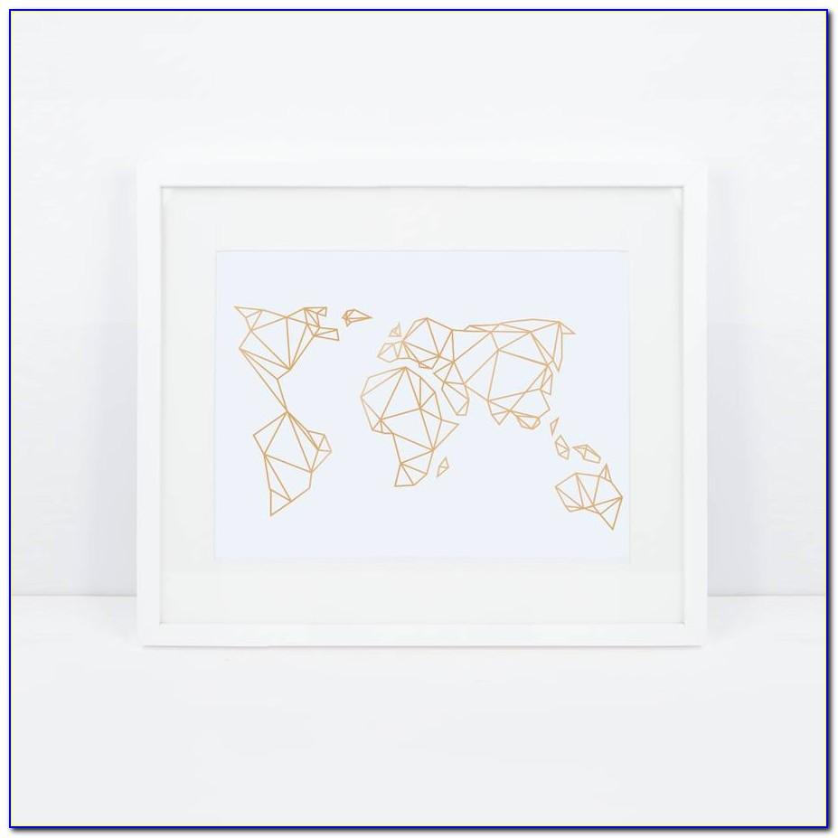 Geometric World Map Wall Sticker