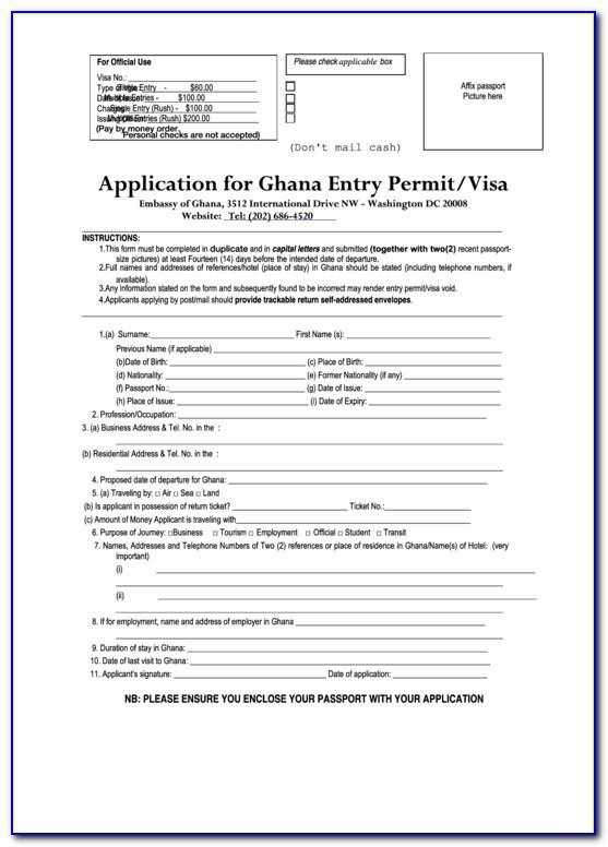 Ghana Visa Application Form Washington Dc