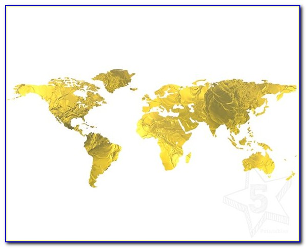 Gold Foil Map Print