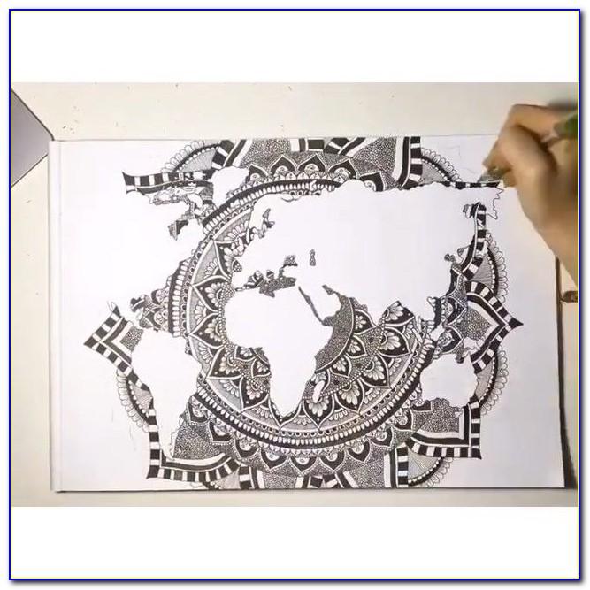 Gorgeous World Map Mandala By Em Carey