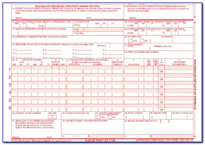 Hcfa 1500 Sample Form Pdf
