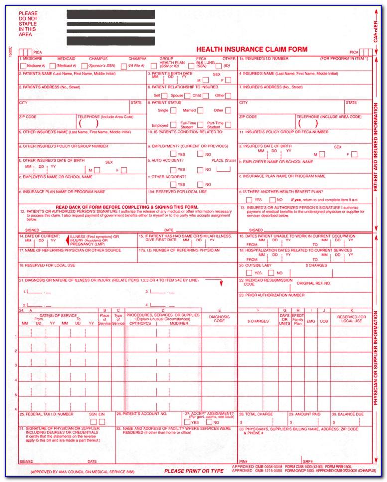 Hcfa 1500 Sample Form