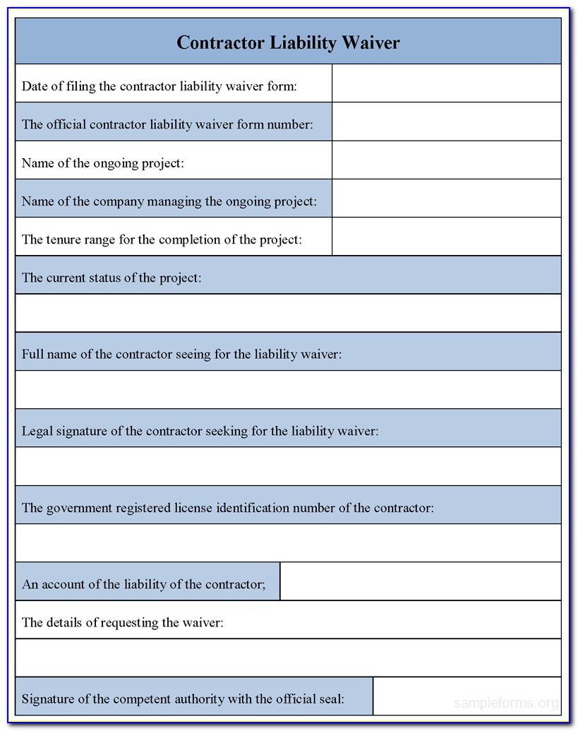 Health Insurance Waiver Of Liability Form
