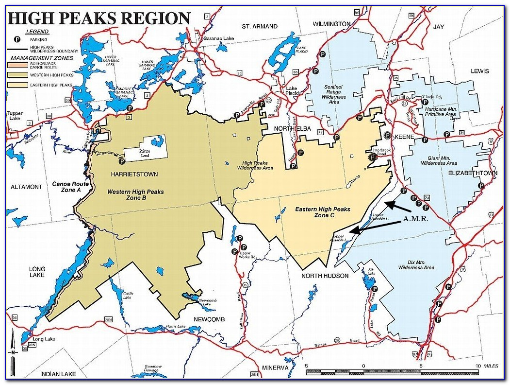 High Peaks Region Adirondacks Map