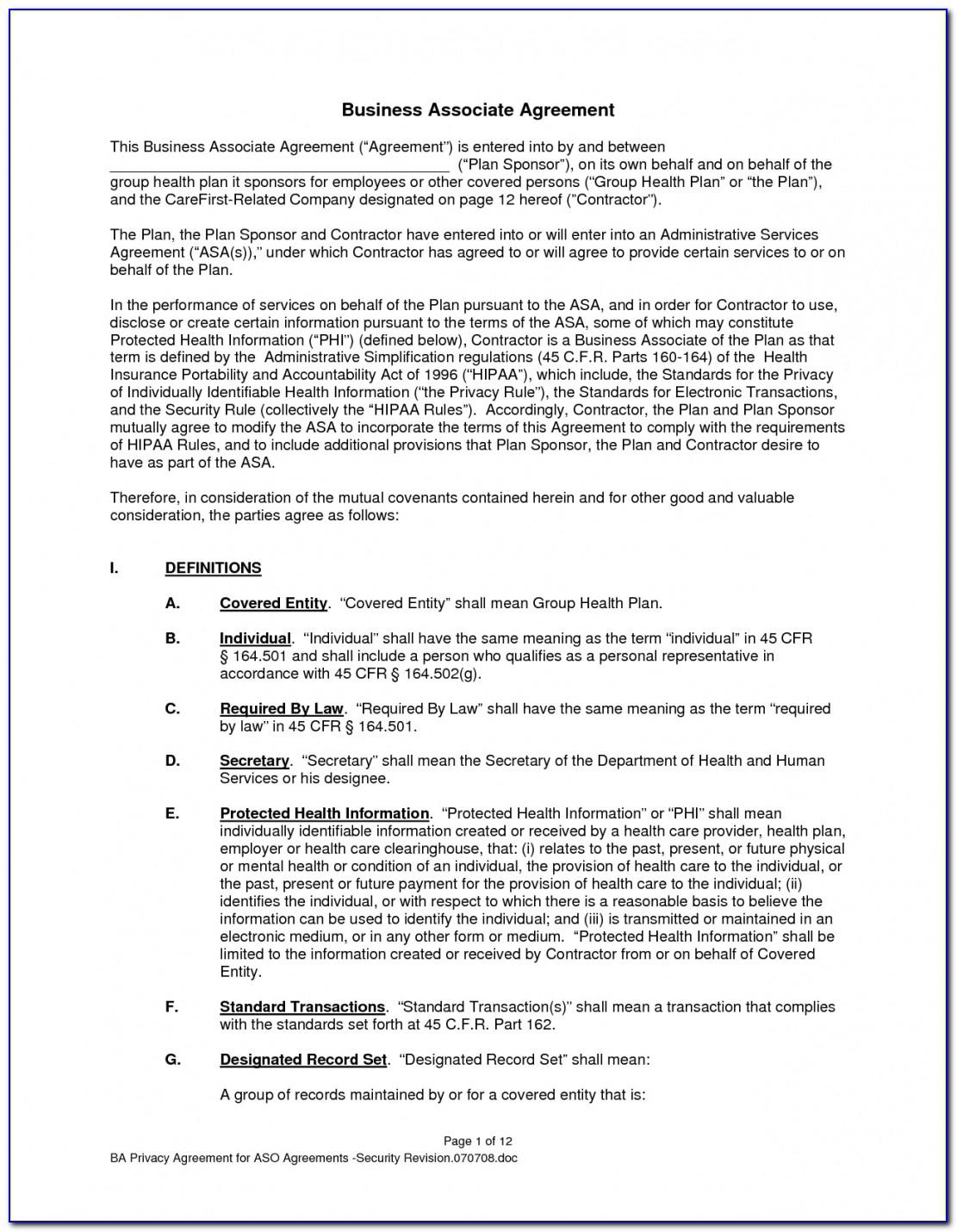 Business Associate Agreement Template Unorthodox Photos Hipaa Free Within Business Associate Agreement Template 2018