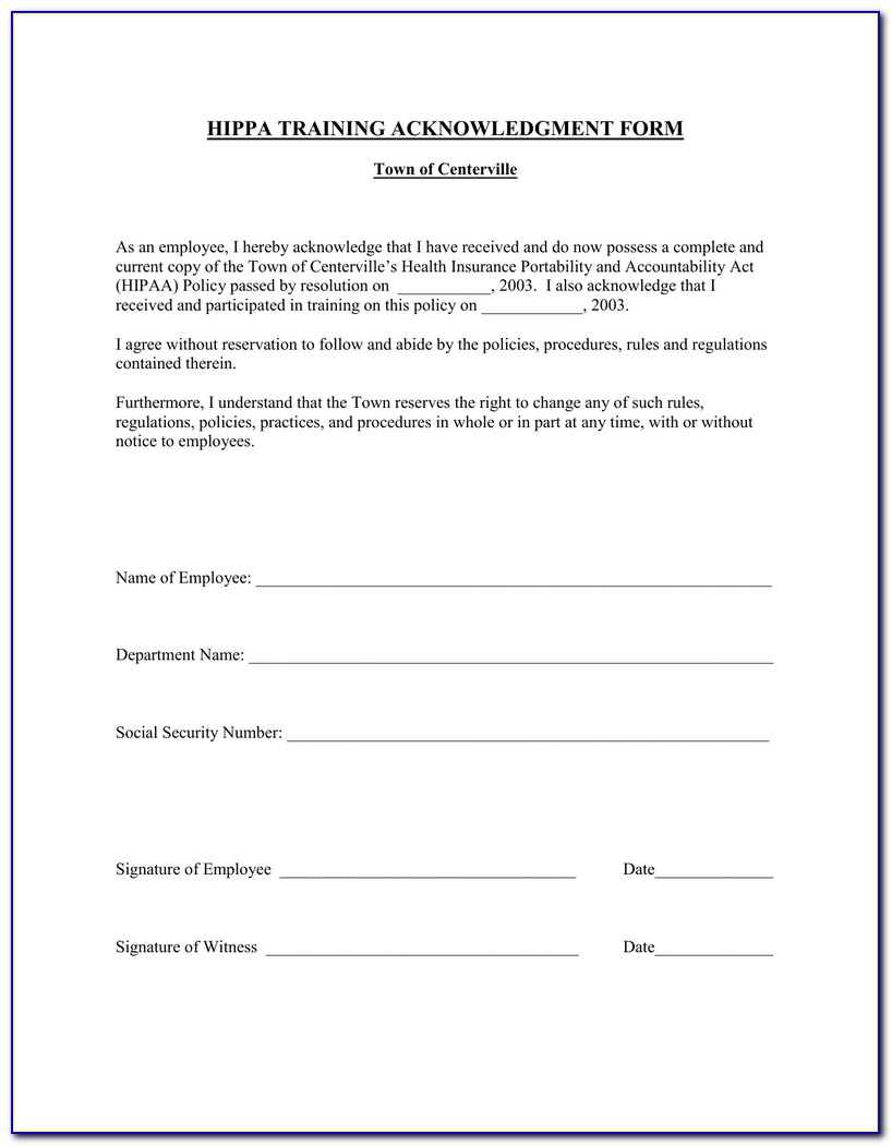 Hipaa Form For Employees To Sign