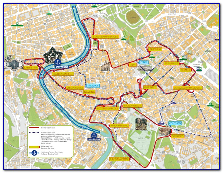 Hop On Hop Off Rome Route Map