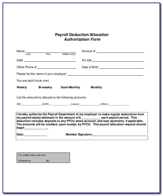 Hsa Payroll Deduction Form Template
