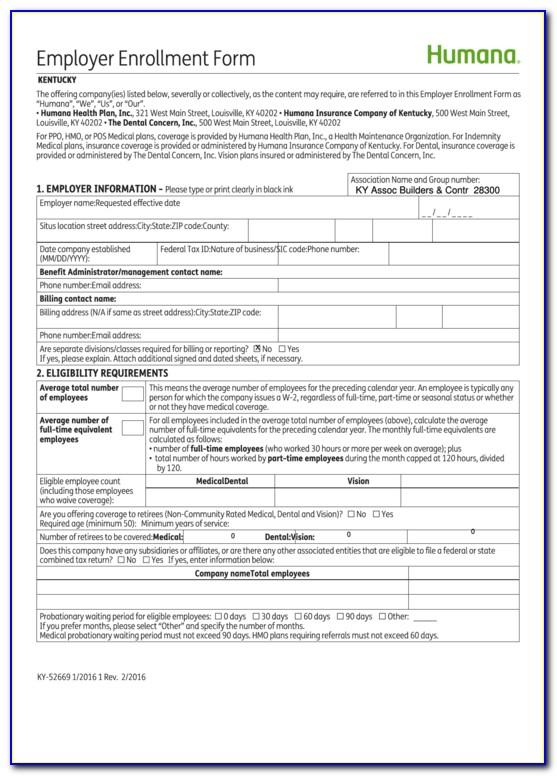 Humana Enrollment Form Texas